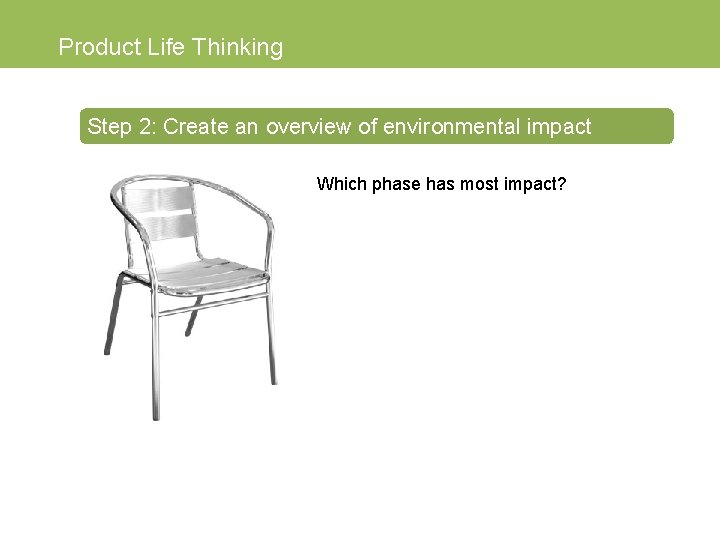 Product Life Thinking Step 2: Create an overview of environmental impact Which phase has