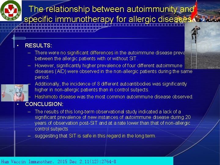 The relationship between autoimmunity and specific immunotherapy for allergic diseases. • RESULTS: – There