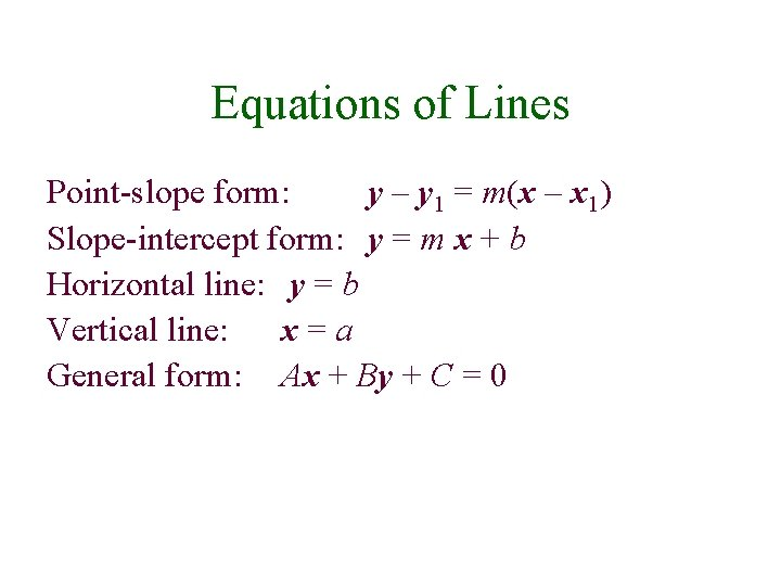 Equations of Lines Point-slope form: y – y 1 = m(x – x 1)