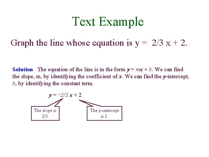 Text Example Graph the line whose equation is y = 2/3 x + 2.