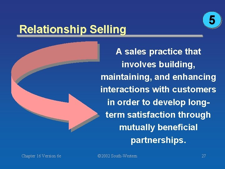 5 Relationship Selling A sales practice that involves building, maintaining, and enhancing interactions with