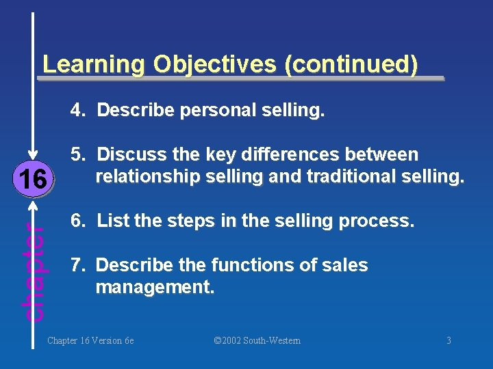 Learning Objectives (continued) 4. Describe personal selling. chapter 16 5. Discuss the key differences