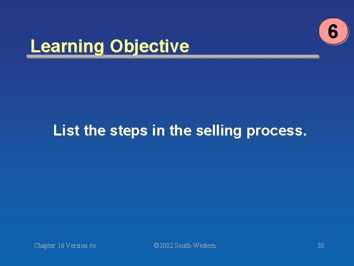 6 Learning Objective List the steps in the selling process. Chapter 16 Version 6