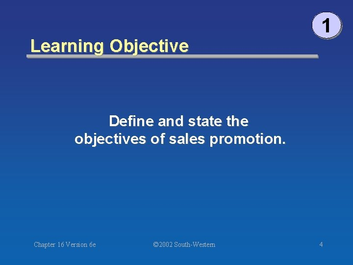 Learning Objective 1 Define and state the objectives of sales promotion. Chapter 16 Version