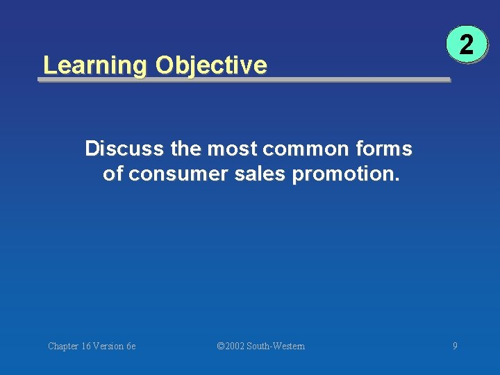 2 Learning Objective Discuss the most common forms of consumer sales promotion. Chapter 16