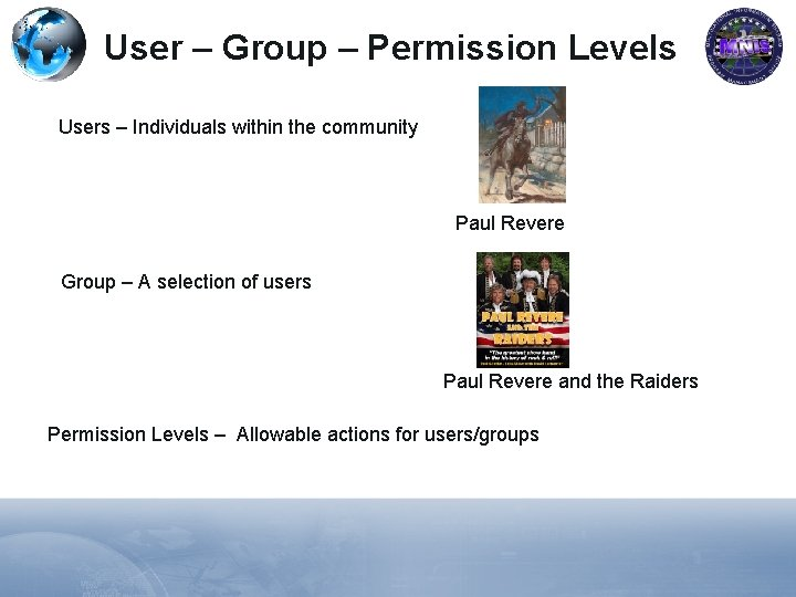 User – Group – Permission Levels Users – Individuals within the community Paul Revere