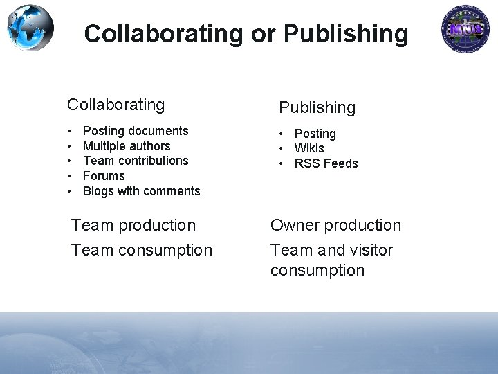 Collaborating or Publishing Collaborating Publishing • • • Posting • Wikis • RSS Feeds