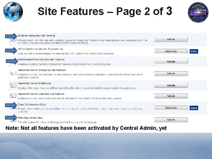 Site Features – Page 2 of 3 Note: Not all features have been activated