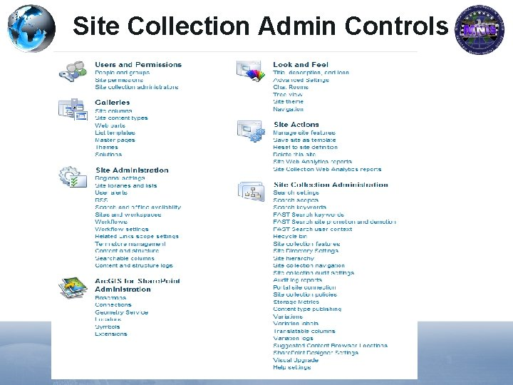 Site Collection Admin Controls