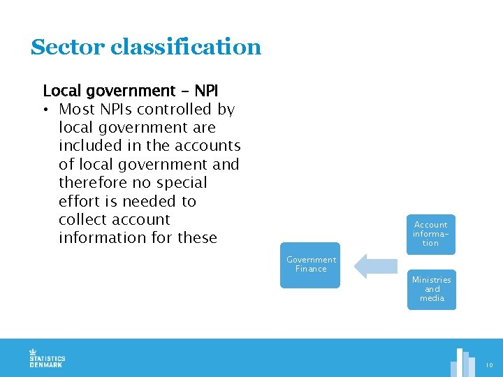 Sector classification Local government - NPI • Most NPIs controlled by local government are