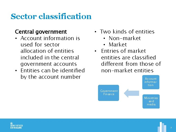 Sector classification Central government • Account information is used for sector allocation of entities