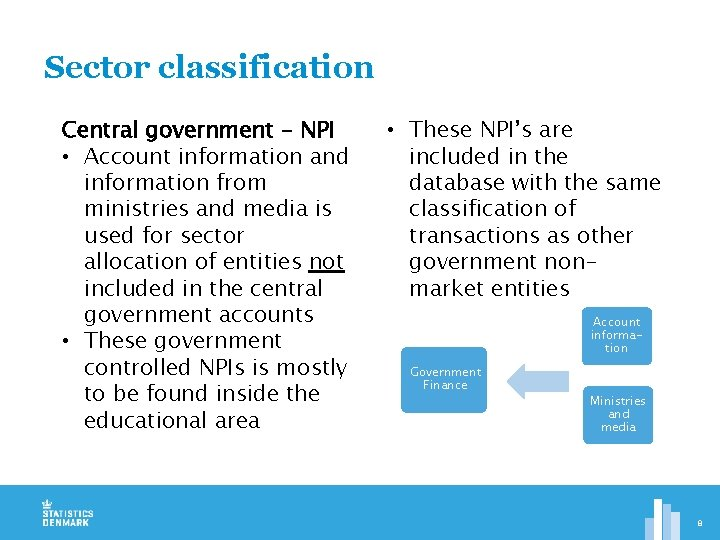 Sector classification Central government - NPI • Account information and information from ministries and