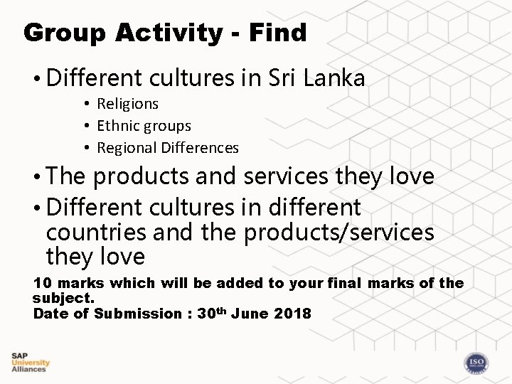 Group Activity - Find • Different cultures in Sri Lanka • Religions • Ethnic