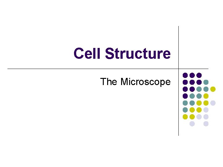 Cell Structure The Microscope