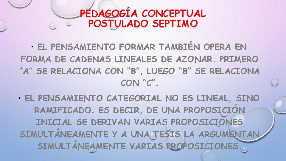 PEDAGOGÍA CONCEPTUAL POSTULADO SEPTIMO • EL PENSAMIENTO FORMAR TAMBIÉN OPERA EN FORMA DE CADENAS