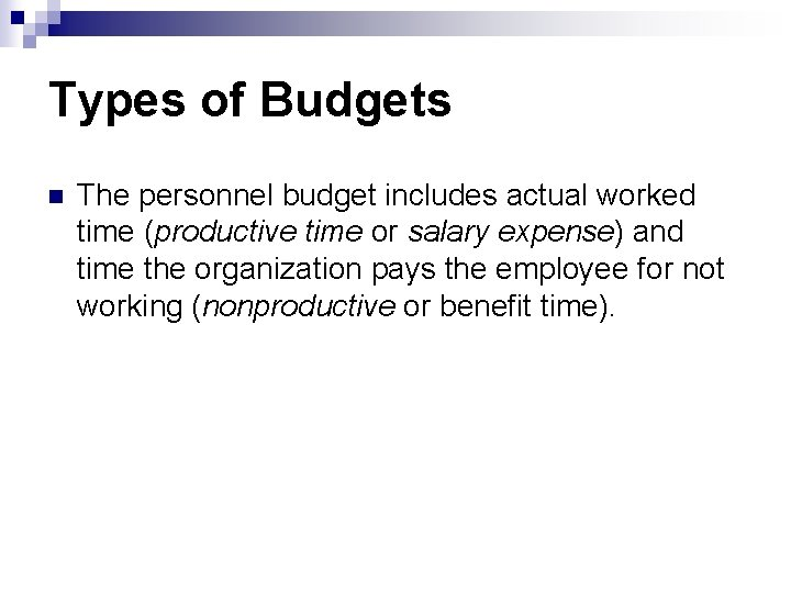 Types of Budgets n The personnel budget includes actual worked time (productive time or