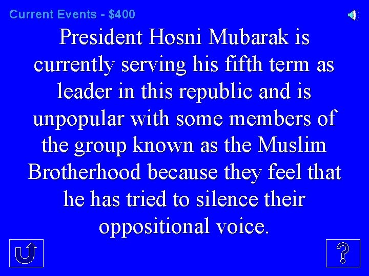 Current Events - $400 President Hosni Mubarak is currently serving his fifth term as