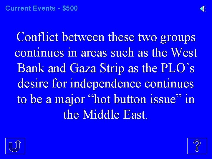 Current Events - $500 Conflict between these two groups continues in areas such as
