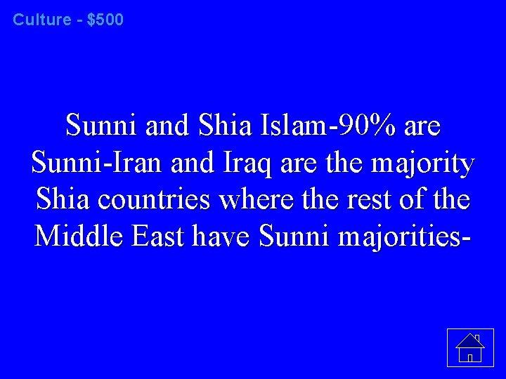 Culture - $500 Sunni and Shia Islam-90% are Sunni-Iran and Iraq are the majority