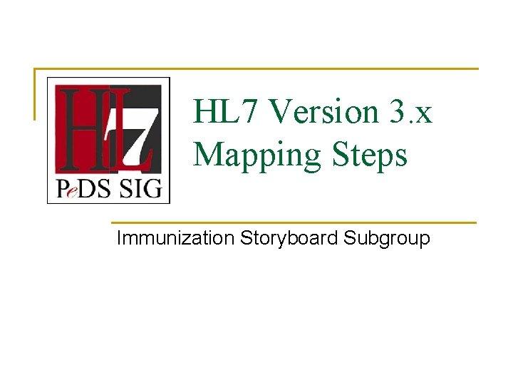 HL 7 Version 3. x Mapping Steps Immunization Storyboard Subgroup