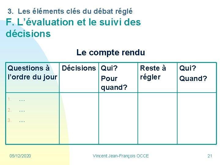 3. Les éléments clés du débat réglé F. L'évaluation et le suivi des décisions