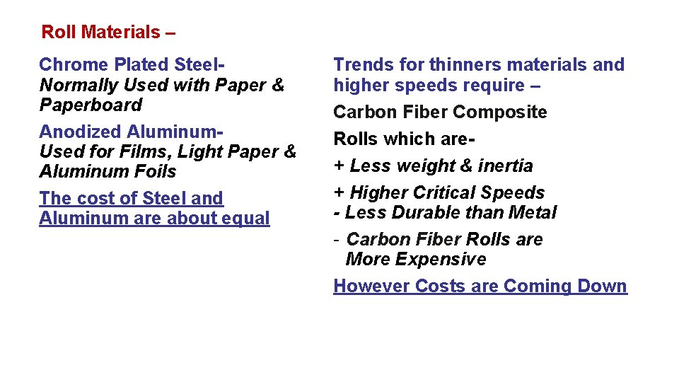 Roll Materials – Chrome Plated Steel. Normally Used with Paper & Paperboard Anodized Aluminum.