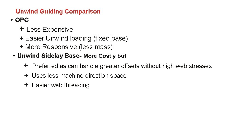 Unwind Guiding Comparison • OPG + Less Expensive + Easier Unwind loading (fixed base)