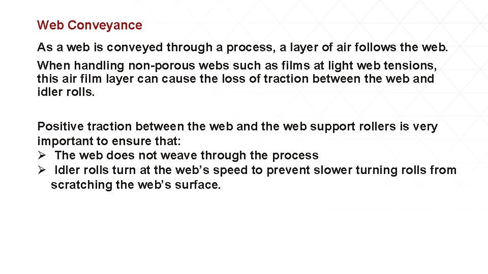 Web Conveyance As a web is conveyed through a process, a layer of air