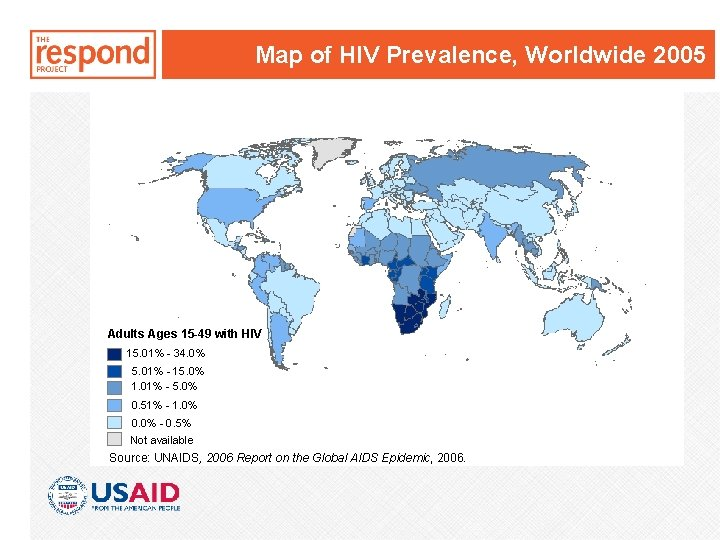 Map of HIV Prevalence, Worldwide 2005 Adults Ages 15 -49 with HIV 15. 01%