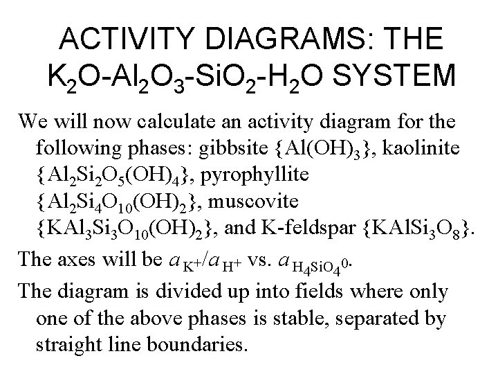 ACTIVITY DIAGRAMS: THE K 2 O-Al 2 O 3 -Si. O 2 -H 2