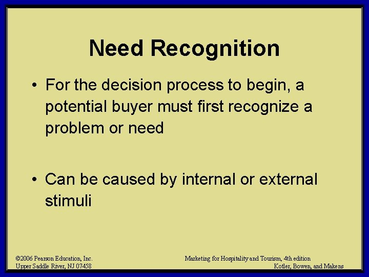 Need Recognition • For the decision process to begin, a potential buyer must first