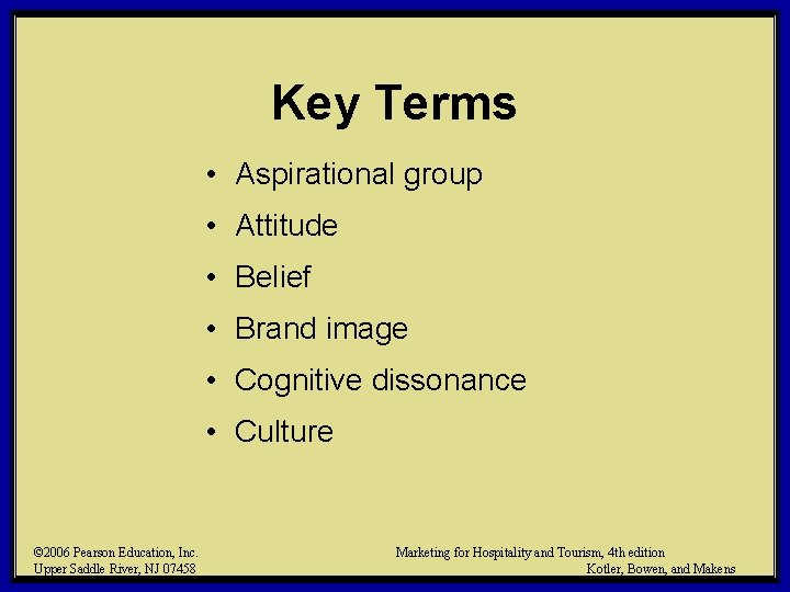 Key Terms • Aspirational group • Attitude • Belief • Brand image • Cognitive