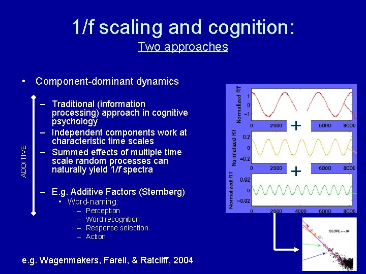 1/f scaling and cognition: Two approaches ADDITIVE • Component-dominant dynamics – Traditional (information processing)
