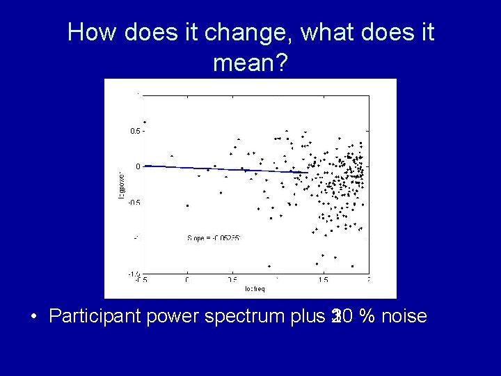 How does it change, what does it mean? • Participant power spectrum plus 10