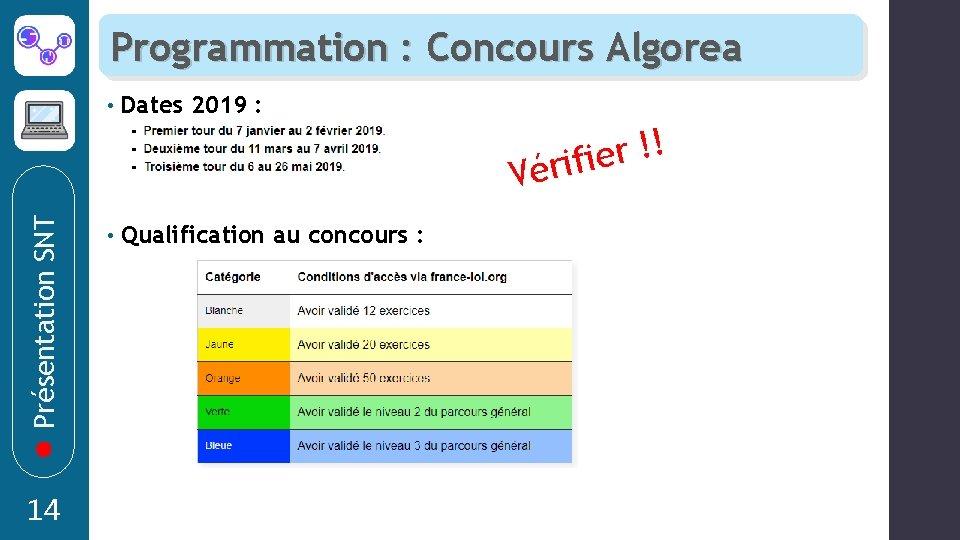 Programmation : Concours Algorea • Dates 2019 : ! ! r érifie Présentation SNT