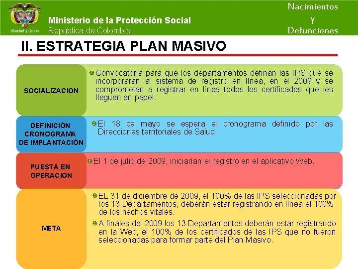 Nacimientos y Ministerio de la Protección Social República de Colombia Defunciones II. ESTRATEGIA PLAN