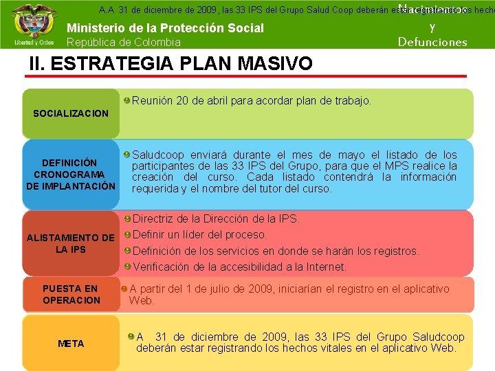 A. A 31 de diciembre de 2009, las 33 IPS del Grupo Salud Coop