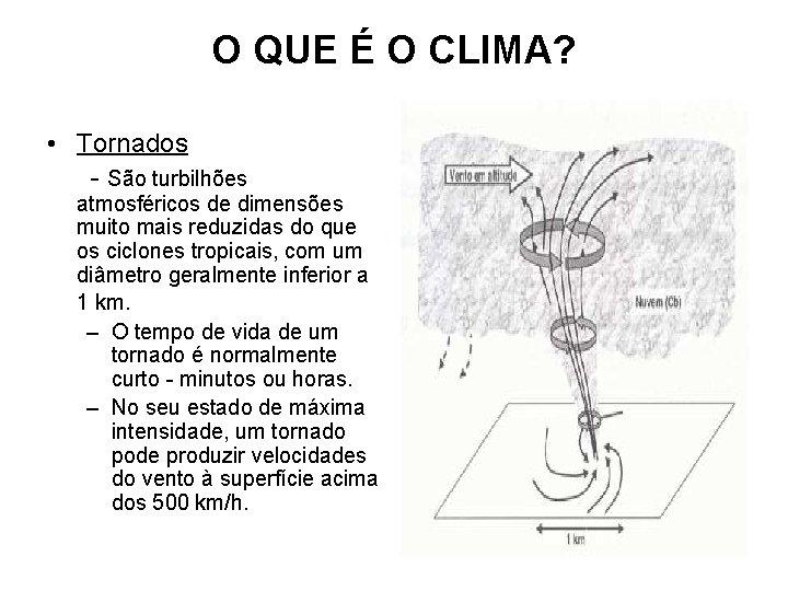 O QUE É O CLIMA? • Tornados - São turbilhões atmosféricos de dimensões muito