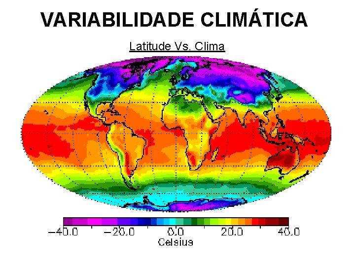 VARIABILIDADE CLIMÁTICA Latitude Vs. Clima