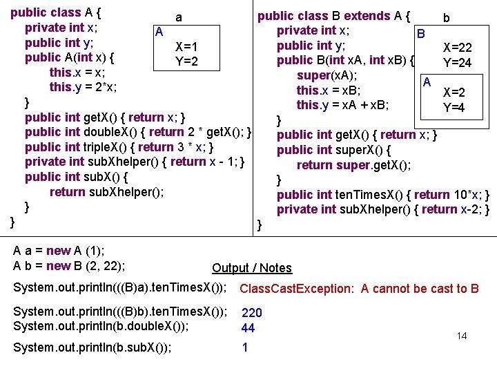 public class A { public class B extends A { a b private int