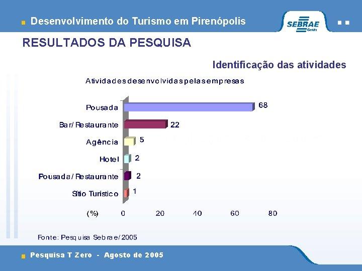 Desenvolvimento do Turismo em Pirenópolis RESULTADOS DA PESQUISA Identificação das atividades Pesquisa T Zero