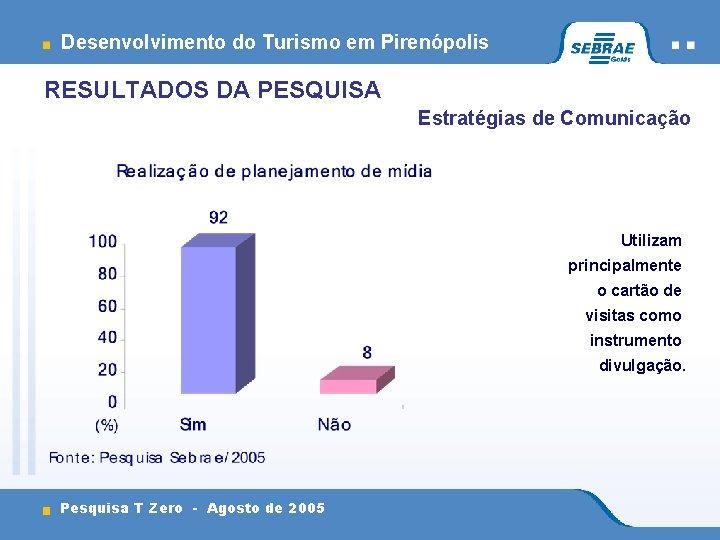 Desenvolvimento do Turismo em Pirenópolis RESULTADOS DA PESQUISA Estratégias de Comunicação Utilizam principalmente o