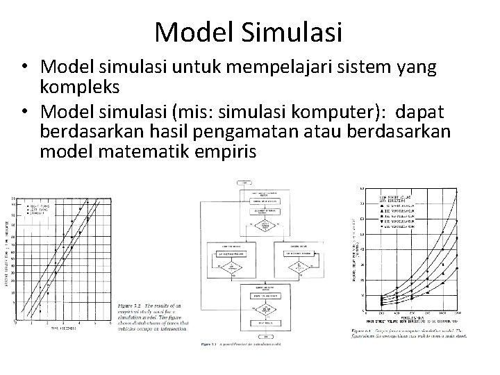 Model Simulasi • Model simulasi untuk mempelajari sistem yang kompleks • Model simulasi (mis: