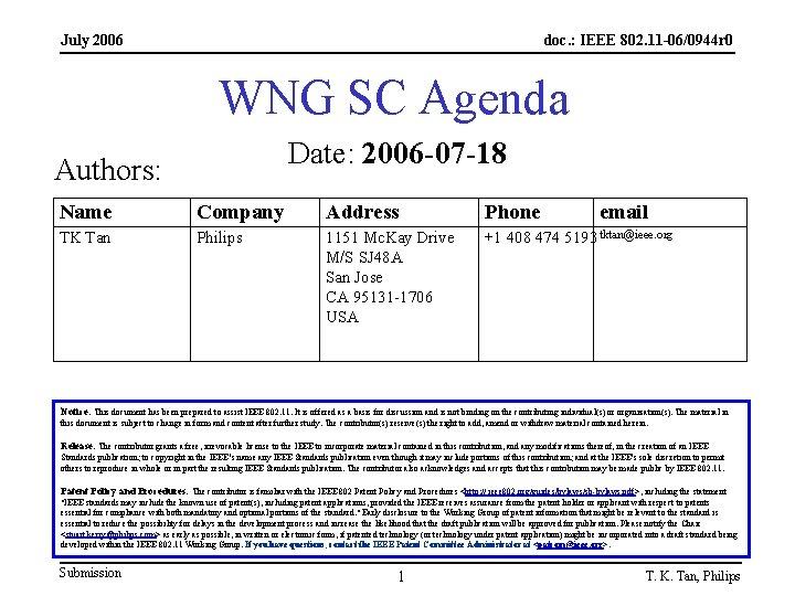 July 2006 doc. : IEEE 802. 11 -06/0944 r 0 WNG SC Agenda Date:
