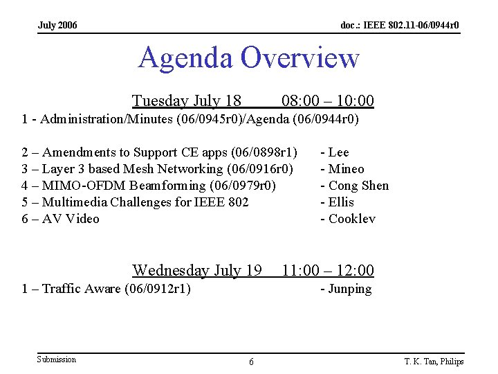 July 2006 doc. : IEEE 802. 11 -06/0944 r 0 Agenda Overview Tuesday July