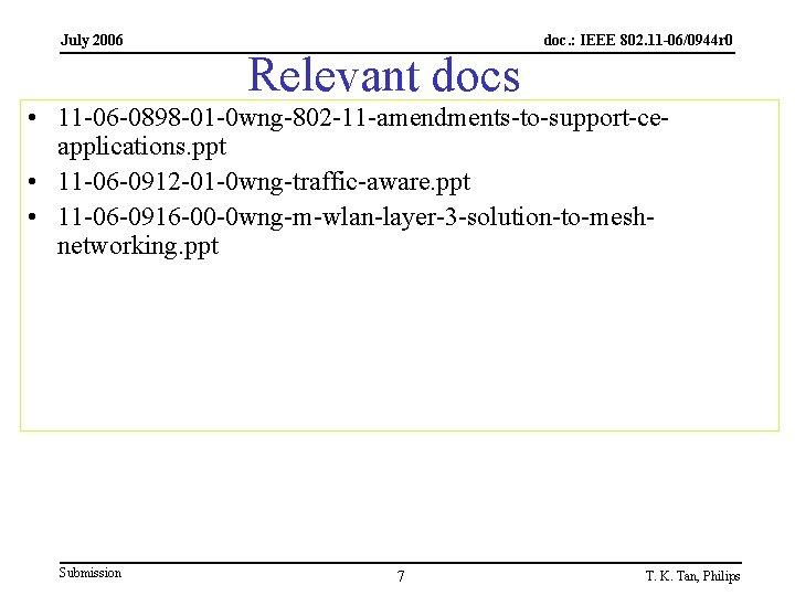 July 2006 Relevant docs doc. : IEEE 802. 11 -06/0944 r 0 • 11