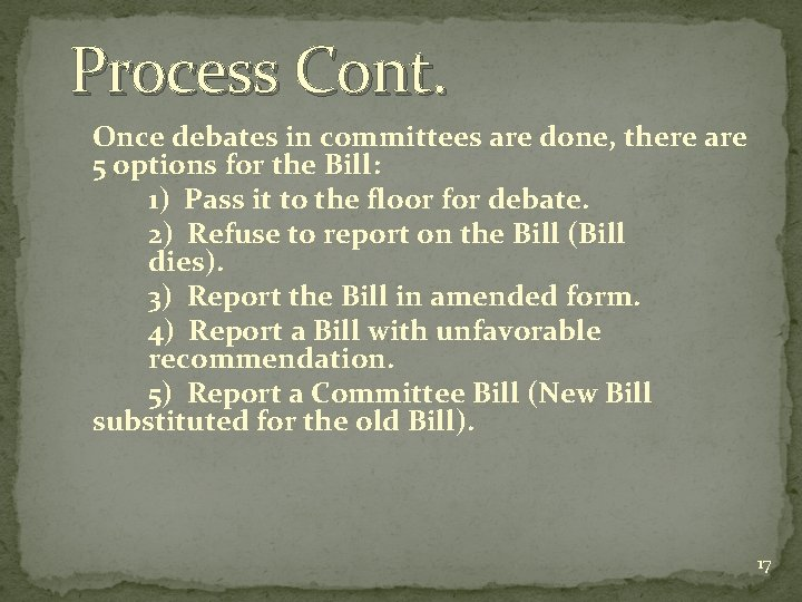 Process Cont. Once debates in committees are done, there are 5 options for the