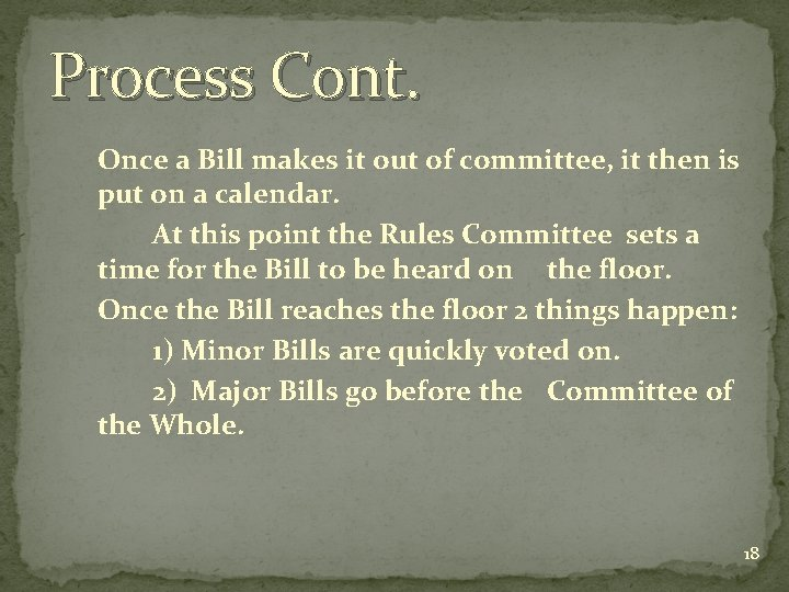 Process Cont. Once a Bill makes it out of committee, it then is put