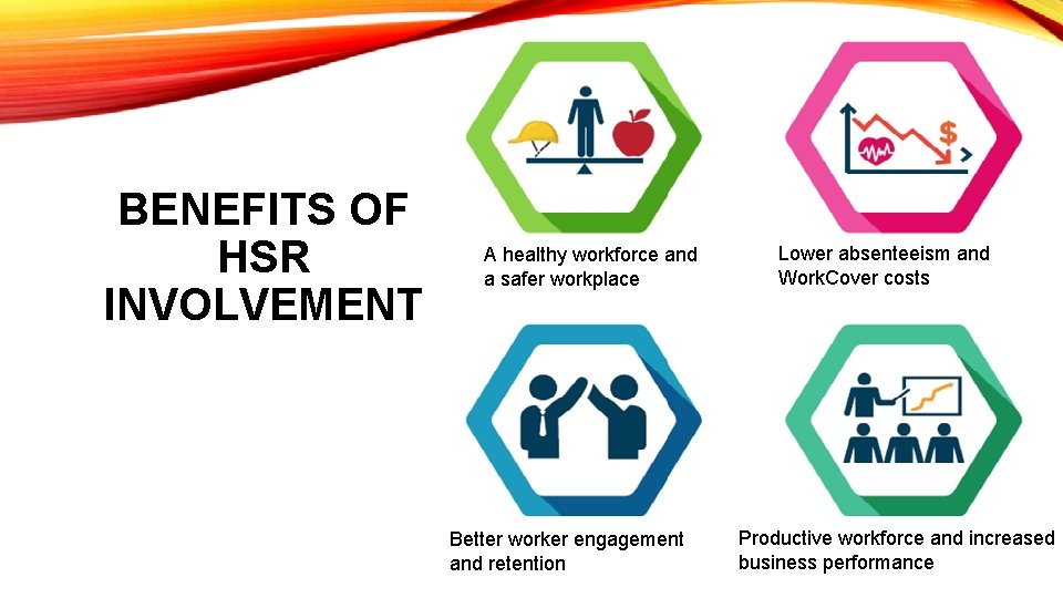 BENEFITS OF HSR INVOLVEMENT A healthy workforce and a safer workplace Better worker engagement