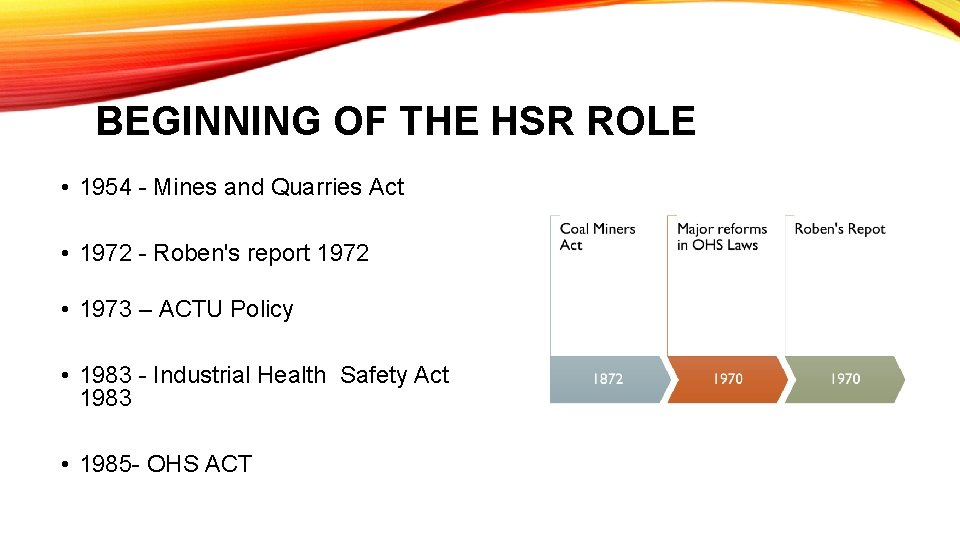 BEGINNING OF THE HSR ROLE • 1954 - Mines and Quarries Act • 1972